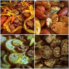 More preps of smoked sausage and sweet peppers, fingerling red potatoes with rosemary, sauté of green & yellow squash with mushrooms and feta & spinach chicken sausage. by @MyDeliciousBliss on Instagram