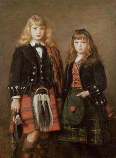 "Sisters in tartan ""Two Bairns"" (oil on canvas), Sir John Everett Millais Dante Gabriel Rossetti, Southampton, John Everett Millais, Pre Raphaelite Paintings, Pre Raphaelite Brotherhood, Victorian Art, Portraits, Portrait Art, William Morris"