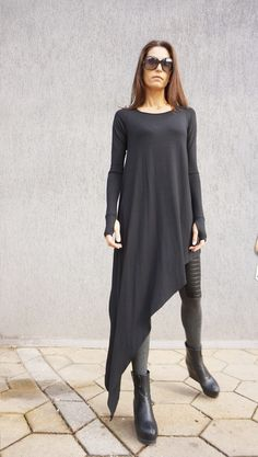 Asymmetrical Unique Dress ♥ Extremely Comfortable Asymmetrical Loose Top ♥ Extra Long Sleeves Tunic, stylish Top or may be a Unique Dress... Extravagant creation for those who want to experiment step by step! ♥ You will love this Top as you will fell free,confident ,unique, elegant and always