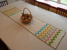 Just in time for Easter...  quilted zigzag table runner.