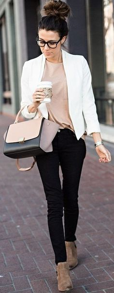 Suede Ankle Boots, Black Skinnies, Tan Boyfriend Tee, White Blazer And Celine Bag | Casual Chic Winter Streetstyle | Hello Fashion                                                                             Source