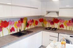 Placare cu sticla printata - Geamuri si oglinzi de la OpriCristal Santorini, Kitchen, Home, Cooking, House, Homes, Kitchens, Cucina, Santorini Caldera