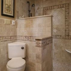 Mediterranean Home doorless shower Design Ideas, Pictures, Remodel and Decor Corner toilet! Small Bathroom With Shower, Master Bathroom Shower, Tiny House Bathroom, Bathroom Design Small, Bathroom Designs, Bathroom Ideas, Tiny Bathrooms, Bathroom Remodeling, Shower Ideas