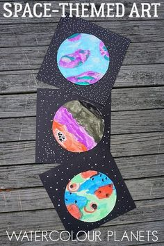 Watercolour Planets Space Themed Art for Kids is part of Preschool art projects - Get creative with this spacethemed art project for kids inspired by literature to create an imaginative set of watercolour planets Preschool Art Projects, Kids Crafts, Children Art Projects, Kids Art Lessons, Art Activities For Kids, Preschool Art Lessons, Art Children, Art For Kindergarteners, Art For Preschoolers