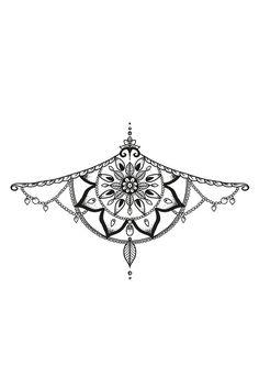 Mandala sternum temporary tattoo - a temporary tattoo by Tattoorary