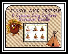 Turkey and Tepees 6 Common Core Center Games from Can You Read It on TeachersNotebook.com (99 pages)  - 6 great center games.  Perfect for party days!  CCSS aligned. http://www.teachersnotebook.com/shop/CanYouReadIt