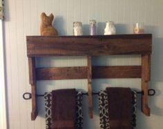 Small rustic pallet wood towel rack by LudwigWoodworkingLLC