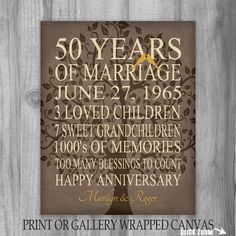 50th Anniversary Gift Keepsake, Important Events The perfect personalized gift for parents or grandparents! Life Story of the couples life together. This is a unique gift idea they will truly cherish. Perfect for any year anniversary. Canvas or Print gift - Custom made for you - Use YOUR words, as long as it fits  Background shown, burlap look with tree, love birds in a golden color (50 years is Gold!)  I look forward to helping you make this the perfect anniversary gift :)  --- I WILL NEED…