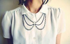 Peter Pan Chain Collar Bib Necklace in Gun Metal by francisfrank, $26.00