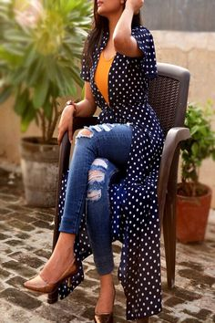 Look absolutely stunning wearing this beautiful navy blue long shrug from Colorauction. Featuring a mesmerising polka dots prints all over this shrug will win you loads of compliments from the onlookers. The georgette fabric makes this shrug extremely com Shrug For Dresses, Trendy Dresses, Nice Dresses, Fashion Dresses, Fashion Styles, Fashion Design, Casual Skirt Outfits, Boho Outfits, Casual Dresses