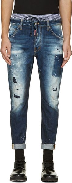 Dsquared2 Blue Distressed Classic Kenny Twist Jeans 81649ed290a9