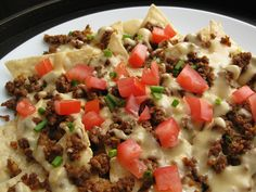 """homemade nacho cheese sauce and """"taco seasoning"""" spiced beef 