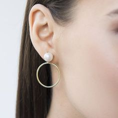 Fresh Water Pearl Bezel Studs with Hoop Earrings Pearl Studs, Pearl Earrings, Hoop Earrings, Natural Stones, Fresh Water, Pearls, My Style, Stylish, Jewelry