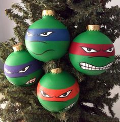 Ninja Turtles are back! Not the awful-looking Michael Bay film, these are the classics! TMNT Painted Holiday Ornament Set of 4 · Ginger Pots · Online Store Powered by Storenvy