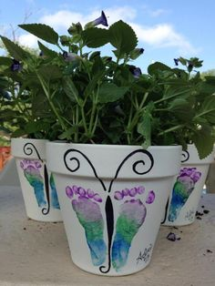 Captivating Baby Foot Butterfly Flower Pots Awesome Ideas