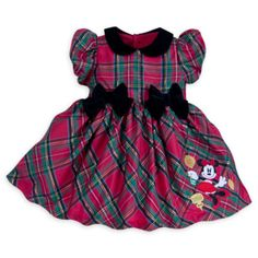 Ensure little miss is beautifully dressed for the Christmas celebrations! This adorable Minnie Mouse baby party dress comes in a festive tartan, with a glittery embroidered motif and pretty bow details. Disney Baby Clothes, Baby Kids Clothes, Baby Disney, Red Holiday Dress, Holiday Outfits, Christmas Dresses, Christmas Clothes, Kids Outfits, Cute Outfits