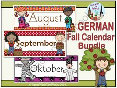 German Calendar Pocket Chart Bundle for Fall from Open Wide the World on TeachersNotebook.com -  (36 pages)  - Fun, colorful, seasonal pocket chart calendar sets in GERMAN. Includes August, September, and October.