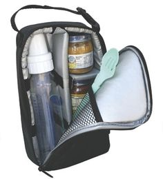 Pack N Protect Tote: So versatile! Unlike traditional baby bottle bags, this versatile cooler tote has adjustable inserts, so you can securely pack baby food jars, bottles, or a combination of both. Very well padded and insulated; protects glass containers, while adapting to meet baby's evolving feeding needs. With an interior gel pack pocket and exterior pocket for wipes or a bib...