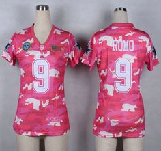 9d44770dd ... Nike Dallas Cowboys Jersey 9 Tony Romo 2014 Salute to Service Pink Camo  Womens Jerseys ...