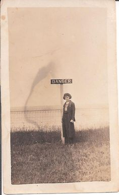 Vintage Photo Woman Standing in Front of DANGER Sign #vintage photo #double exposure #vintage snapshot