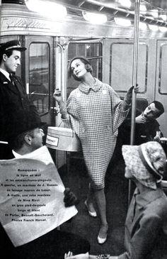 Jardin des Modes March 1958 Haute Couture in the Paris metro. Photo by Frank Horvat