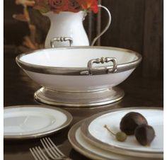 arte italica, tuscan need the pedestal bowl! Serveware, Tableware, Tuscan House, Italian Pottery, Atlanta Homes, Beautiful Kitchens, Fine China, Dinner Plates, White Ceramics