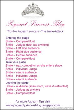 Tips for pageant success. The smile attack. Entering the stage, take your place, leaving the stage. Teen Pageant, Pageant Tips, Miss Pageant, Pageant Wear, Pagent Hair, Pagent Dresses, Pageant Questions, Interview Questions, National American Miss