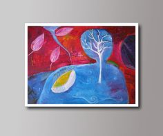 Abstract Fantasy Landscape  with Tree Leaves Water by DHANAart #handmade #etsy