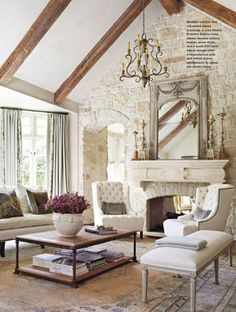 French Country Light Colored Stone Fireplace From BHG Bungalow, Living Room  Decor Country, Living