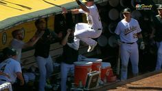 dad837de Matt Chapman hurdled Gatorade jugs and landed in the dugout after a great  running catch