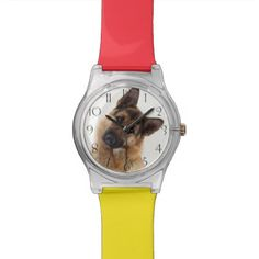 #Adorable funny german shepherd portrait wristwatch - #Petgifts #Pet #Gifts #giftideas #giftidea #petlovers