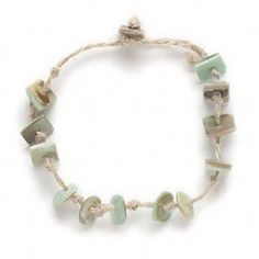 Handcrafted Philippines Abalone Shell Hemp Cord Knotted Button Clasp Bracelet