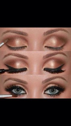 Sexy bronze eye make up