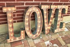4 Custom Wedding Letters LOVE Marquee Signs Rustic Industrial Marque lighting w/ Metal, Wood and Vintage Light Bulb Letter Sign Wall Light