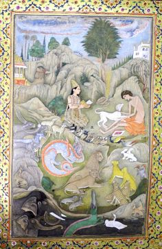 Layla, holding a book, sitting by an emaciated Majnun and dog. Various animals, including elephants, lions and birds, in foreground. Rocky landscape with building in background. Mughal, 1650-1700.