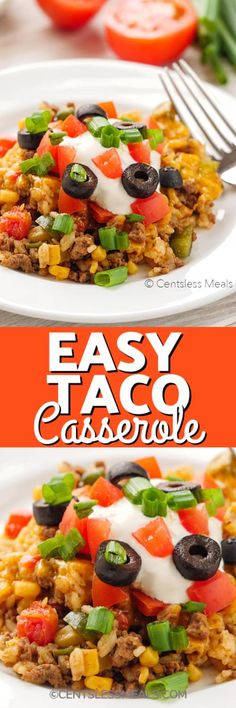 Easy Taco Casserole is a 4 step meal idea made with spicy beef, rice, tomatoes, mexicorn, salsa and topped with loads of cheese. #centslessmeals #easytacocasserole #tacobakecasserole #tacoricecasserole #simplerecipe #withrice #bakesimple #groundbeef #easyrecipe #casserole Easy Taco Casserole, Rice Casserole, Casserole Recipes, Brocolli Rice, Stove Top Meatloaf, Mexican Food Recipes, Ethnic Recipes, Easy Meals, Easy Recipes