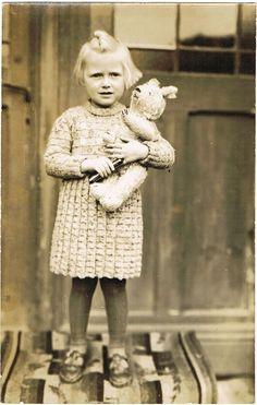 Girl with Doll, vintage Teddy Bear
