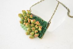 Green Blue Succulent Necklace Pendant Wholesale Metal Basis Medallion Pendant Jewelry Succulent Wedding Bridal Birthday Accessory Gifts