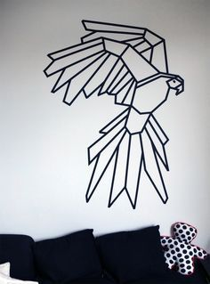My Parrot Corner + Masking Tape #kutchetcouture #wall #washi. An idea to blow up any imAge, project it on the wall and use Washi tape instead of paint