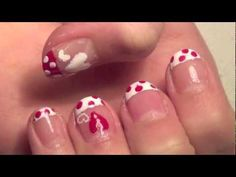 French Tip Valentines Day Nails - YouTube