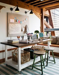 Exposed Wood Beam Ceiling, Desk on Casters, Post-It Garland, Window Seat, Industrial Lighting // workspace