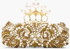 Alexander McQueen Gold Beaded Embroidered Pearl Knucklebox Clutch  #clutch #handbag #bag www.finditforweddings.com
