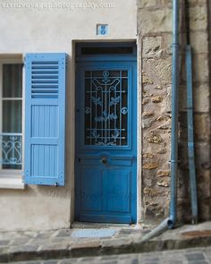 Blue Door Photograph Architecture Paris by VividVoyagePhotos