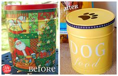 "DIY Pet Food Canister & Pedigree Dog Food - for those of you who ""run with the big dogs"" - this is a cute idea for a dog treat jar or hiding those super-size chewies! Dog Food Container, Food Containers, Storage Containers, Popcorn Containers, Christmas Popcorn Tins, Do It Yourself Upcycling, Pedigree Dog Food, Diy Pet, Do It Yourself Inspiration"