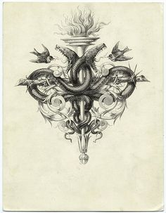 Torch and a thorny branch forming a cross with snakes and birds From Les saints evangiles by Alexandre Bida. Simbolos Tattoo, Dark Art Tattoo, Tattoo Motive, Snake Tattoo, Cd Cover Design, Stippling Art, Ornament Drawing, Engraving Art, Neue Tattoos
