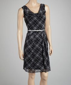 Take a look at this Black Plaid Drape-Neck Belted Dress by Jessica Howard on #zulily today! $34.99, regular 89.00
