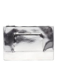 ASOS Flat Clutch Bag With Metal Front Flap