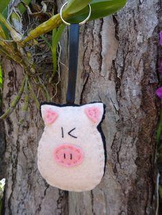 Chaveiro de feltro - Porco - animais