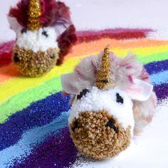 Unicorn pom poms - pom pom DIY - fun pom pom projects - unicorns