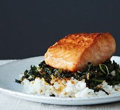 Crispy Coconut Kale with Roasted Salmon   tip: sweet potatoes are optional